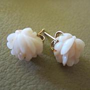 Carved Pale Angel Skin Coral Flower Vintage Pierced  Earrings Marked 14K GF