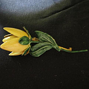 Sandor signed Yellow Enamel Rose Vintage Brooch Pin