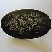 Lovely Signed Scrimshaw Floral Etching on Dark Oval Horn Vintage Brooch Pin