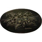 Lovely Signed Scrimshaw Floral Etching on Dark Oval Horn Vintage Brooch Pin