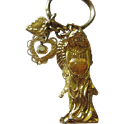 Kirks Folly Angel Golden Hearts Vintage Signed Key Chain