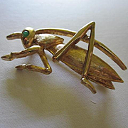 Marcel Boucher Signed Numbered Grasshopper Cricket Figural Book Piece Vintage Brooch Pin