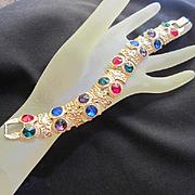 Gorgeous Jeweled Crystal Points Up Rhinestones Elaborate Gold Plate Vintage Bracelet
