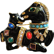 Kenneth Jay Lane KJL Horse and Hound Brooch Jeweled Fantasy Series Collection Book Piece Vintage Brooch Pin
