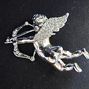 Adorable Naked Cherub Cupid Figural Silver tone Bow and Arrow Pave set Crystal Vintage Brooch Pin