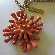 Oscar de la Renta Coral Color Enamel Statement Vintage Necklace Signed