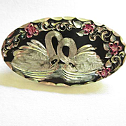 Fabulous Arts and Crafts Era Hand Etched Swans Intricate Detailed Figural Vintage Brooch Pin OAK Rare