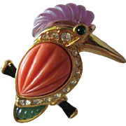 Gorgeous KJL Signed Kingfisher Coral Lucite Designer Kenneth J Lane Vintage Brooch Pin