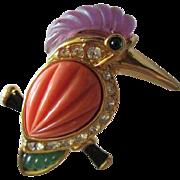 Gorgeous KJL Signed Kingfisher Coral Lucite Designer Kenneth J Lane Vintage Brooch Pin