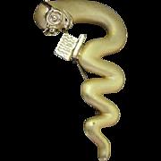 Bookworm Figural Gold Matte Finish Vintage Brooch Pin