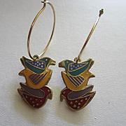 Early Laurel Burch Signed Three Dove Figural Enamel Vintage Hoop Earrings