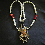 Beautiful Copper Asian Woman Geisha Genuine Pearl Coral Onyx Upcycled Vintage Necklace