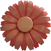 Gorgeous Shades of Pink Enamel Flower Vintage 1960s Brooch Pin