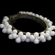 Miriam Haskell Signed White Dog Bone Bead circa 1940s Original Vintage Bangle Bracelet