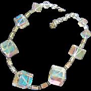 Vendome Signed Art Deco AB Crystal Cube Cubist Prism Vintage Necklace