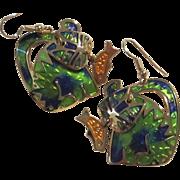 Rare Signed Edgar Berebi Enamel Articulated Cat Fish Figural Rare Vintage Pierced Earrings