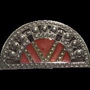 Fabulous Pierre Bex Art Deco Geometric Half Round Enamel Brooch Pin