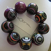 Carlos Sobral of Brazil Fabulous Vibrant Abstract Statement Huge Round Ball Resin Vintage Bracelet Signed