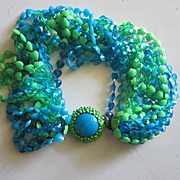 Gorgeous Clasp Fourteen Strand Vibrant Blue Green Translucent Opaque Enamel Vintage Necklace 17 inches