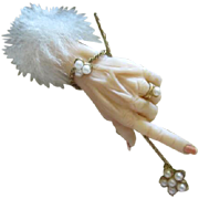 Amazing Rare 1940s Realistic Plastic Hand Adorned with Jewels and Magic Wand Vintage Brooch Pin Book Piece