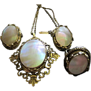 Signed Whiting and Davis Mother of Pearl MOP Demi Parure Vintage Necklace Earrings Ring Set