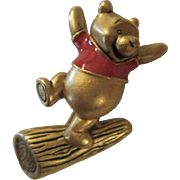 Authentic Disney Winnie the Pooh Dancing on Log Enamel Gold tone Vintage Figural Pin Brooch Signed
