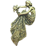 Beautiful Art Nouveau Bronze Detailed Woman Flowers C Clasp Vintage Brooch Pin