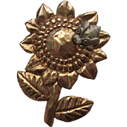 Fabulous Signed Sunflower Pin Bee Figural Vintage Brooch Pin
