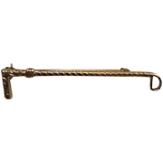 Fancy Riding Crop Gold tone Vintage Figural Brooch Pin