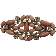 Stunning Mottled Coral Art Glass Baguettes Square Clear Austrian Crystals Incredible Vintage Czech Brooch Pin