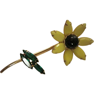 Gorgeous Weiss Bright Yellow Black Cabochon Center Green Marquise Leaves Open Back Flower Figural Brooch Pin