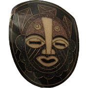 Fabulous Bold Tribal Mask Inlaid Genuine Natural Stones Hand Made Artist Vintage Brooch Pin