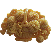 Art Deco Celluloid  Flower Basket Chrysanthemum and Daisy Flowers Figural C Clasp Vintage Brooch Pin