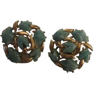 Crown Trifari Alfred Philippe Green Jadeite Fruit Salad Vintage Signed Clip Earrings Mint Condition