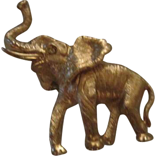 Napier Signed Gold plated Elephant Figural Vintage Brooch Pin Trunk Up Good Luck