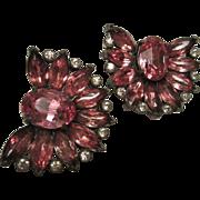 Fabulous Pair Eisenberg Original Signed Raspberry Swarovski Crystal Vintage Fur Clips Set of Two Rare