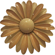 Huge 1960s Enamel Flower Daisy Vintage Brooch Pin