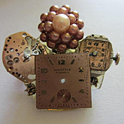 Upcycled  Vintage Watch Parts Vintage Brooch Pin