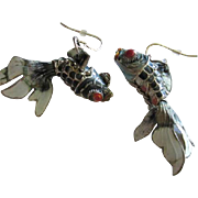 Fabulous Chinese Enamel Silver Articulated Fantail Fish Figural Vintage Earrings