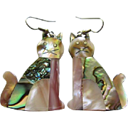Gorgeous Abalone Inlaid Cat Vintage Earrings Signed Alpaca Mexico
