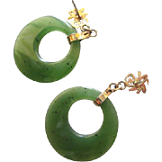 Lovely Chinese Export Jade Hoops Semi Translucent drops from Chinese Symbols gold plated Vintage Earrings Pierced Ear Posts