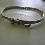 Stunning Classic Sterling Silver Silver Narrow Buckle Adjustable Marked 925 Vintage Bracelet