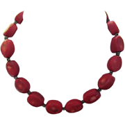 Gorgeous Substantial Red Coral Sterling Silver Clasp 925 Vintage Necklace
