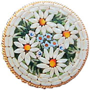 Beautiful Italian Mosaic Daisy Flower Round Hand Made Tesserae Inlaid Grand Tour Round Vintage Brooch Pin