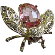 Fabulous Detailed Bug Figural Fully Faceted Pink Belly Red Crystal Eyes Clear Crystal Pave Set Wings Gold tone Vintage Brooch Pin