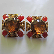 Florenza Signed Huge Topaz Faceted Round Glass Center Carnelian Oval Cabochons Antiqued Gold Tone Setting Vintage Clip Earrings
