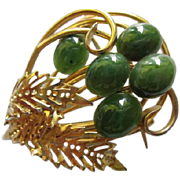 Beautiful Swoboda Genuine Jade Cabochons Gold Plated Vintage Brooch Pin