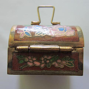 Gorgeous Cloisonne Enamel Thimble & Casket Vintage Chinese Swedish Hand made on Brass