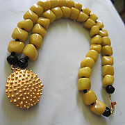 Fabulous Mustard Black Accents Hand Knotted Glass Beads Matte Gold plate Spikey Clasp Vintage Bracelet