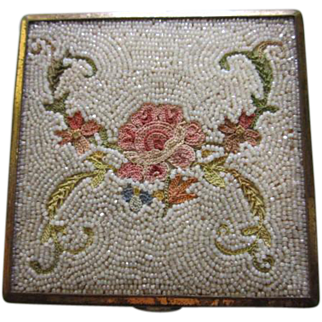 French Art Deco  Hand Beaded Hand Embroidered Floral Vanity Vintage Compact